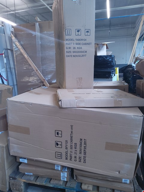 Lot 6074 PALLET OF ASSORTED BATHROOM ITEMS TO INCLUDE: SIDE CABINET PART, WINDSOR WC BLACK WORKTOP