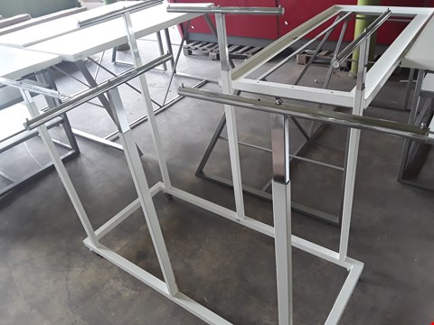 Lot 2054 METAL 6 STATION DOUBLE HEIGHT ADJUSTABLE GARMENT DISPLAY UNIT
