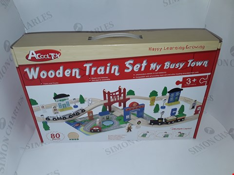 Lot 7 BOXED MY BUSY TOWN WOODEN TRAIN SET - 80 PIECE