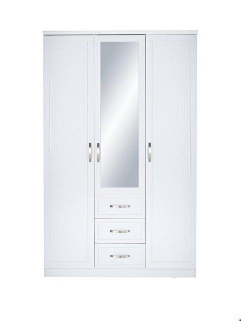 Lot 2011 BOXED GRADE 1 CAMBERLEY WHITE 3-DOOR 3-DRAWER MIRRORED WARDROBE (2 BOXES) RRP £399.99