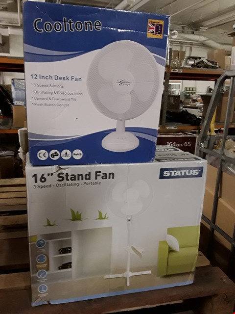 """Lot 8396 LOT OF 3 BOXED HOME FANS INCLUDES 2X STATUS 16"""" STAND FANS AND COOLTONE 12"""" DESK FAN"""