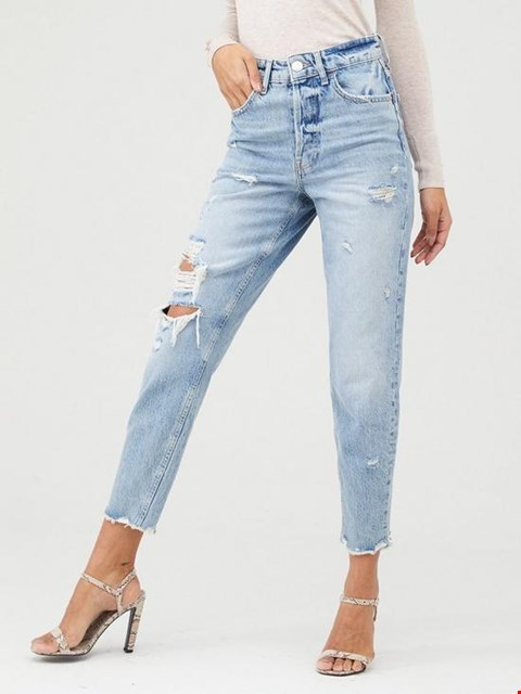 Lot 7350 BRAND NEW RIVER ISLAND HIGH RISE MID WASH RIPPED JEANS - SIZE 14 LONG