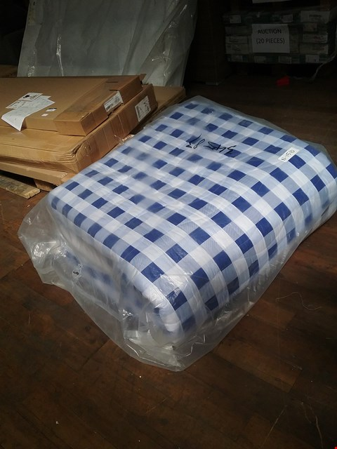 Lot 17 QUALITY BAGGED BLUE CHEQUERED MATTRESS APPROXIMATELY 120X190CM