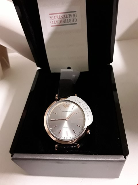 Lot 25 EMPORIO ARMANI ROSE GOLD LEATHER STRAP WATCH  RRP £245