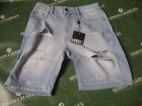 Lot 4167 LEVEL 1 DENIM SHORTS DISTRESSED SIZE 30 RRP £24.99