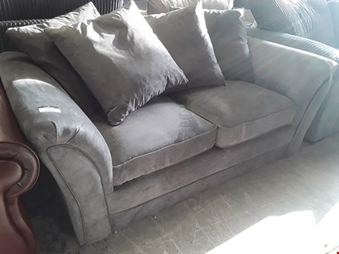 Lot 62 DESIGNER GREY FABRIC TWO SEATER SOFA WITH SCATTER CUSHIONS