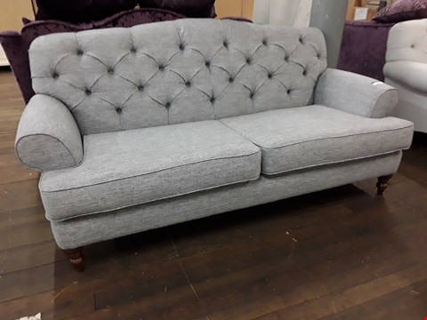 Lot 2096 QUALITY BRITISH DESIGNER VALERIE BUTTONED BACK GREY SPARKLE FABRIC THREE SEATER SOFA