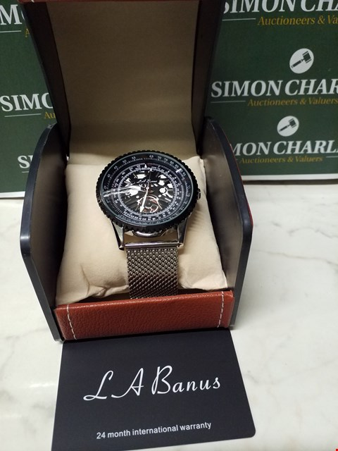 Lot 4567 L. A BANUS BLACK/STAINLESS STEEL TIMER DIAL SKELETON WATCH WITH METAL WRIST STRAP