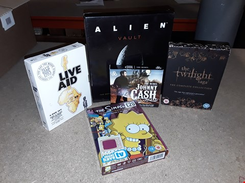 Lot 4100 JOB LOT OF ASSORTED CD/DVD BOXSETS , BOOKS AND GAMES TO INCLUDE TWILIGHT, THE SIMPSONS,  LIVE AIDBOXES)