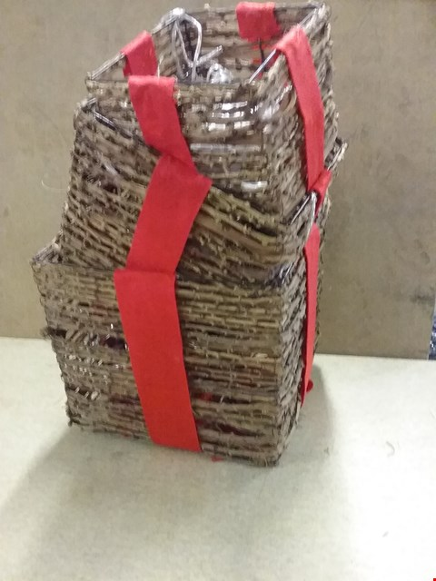 Lot 11017 BOXED GRADE 1 SET OF 3 RATTAN GIFT BOXES WITH DECORATION  RRP £65