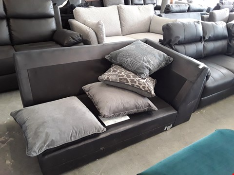 Lot 65 DESIGNER BLACK FAUX LEATHER AND GREY FABRIC SOFA SECTION FRAME