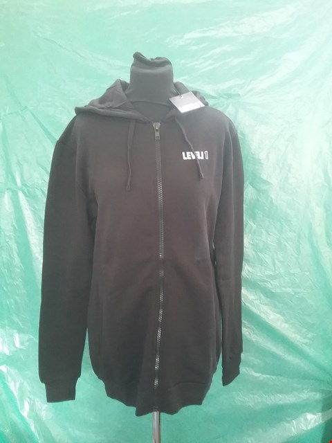 Lot 4143 BRAND NEW LEVEL 1 BLACK HOODIE SIZE S RRP £49.99