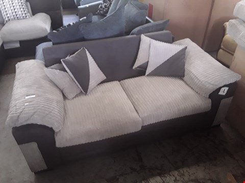 Lot 691 DESIGNER BEIGE CORD FABRIC TWO SEATER SOFA