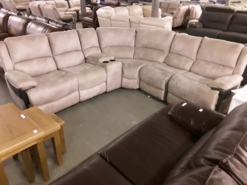 Lot 10006 DESIGNER MADRID BEIGE NAPPA AIR FABRIC LARGE MANUAL RECLINING CORNER GROUP WITH TE UNIT RRP £1300
