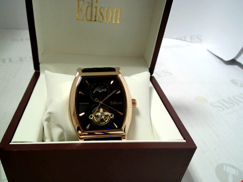 Lot 3299 DESIGNER EDISON AUTOMATIC MOONPHASE WATCH WITH ROSE COLOURED CASE RRP £600.00