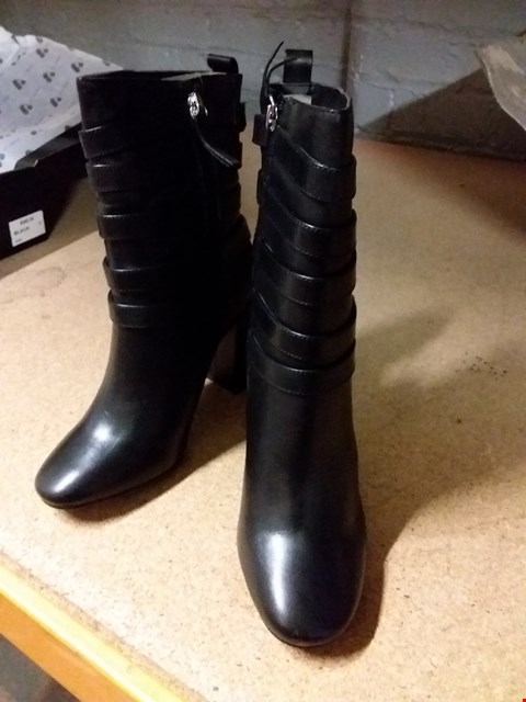 Lot 877 LOT OF 2 PAIRS OF BOXED LEATHER EFFECT BLACK ANKLE BOOTS SIZE 3