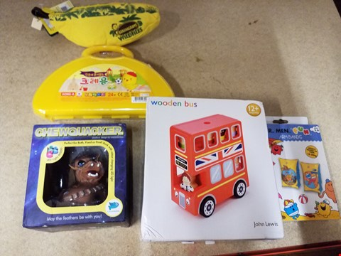 Lot 2030 5 ITEMS TO INCLUDE A WOODEN BUS AND A PAIR MR MEN ARM BANDS