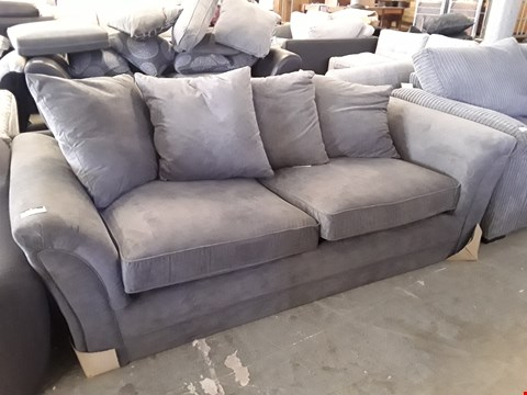Lot 9 DESIGNER GREY FABRIC 3 SEATER SOFA WITH SCATTER BACK CUSHIONS