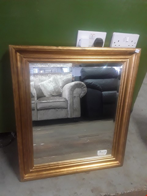 Lot 594 RECTANGULAR MIRROR WITH A GOLD FRAME TOTAL SIZE APPROXIMATELY 66X77CM