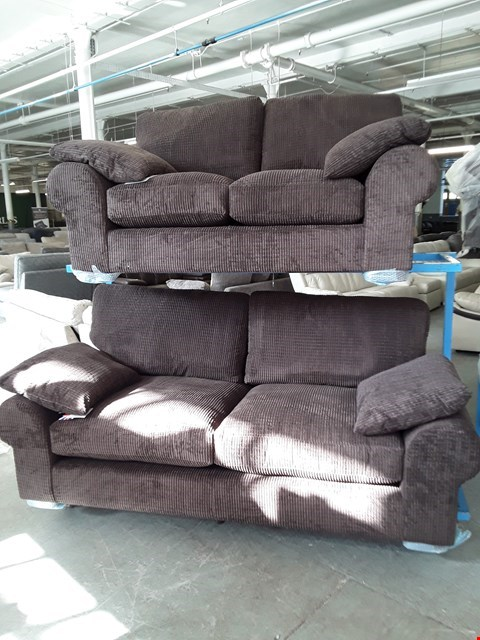 Lot 10048 BRAND NEW DESIGNER DARK BROWN CORDUROY FABRIC 3 & 2 SEATER SOFAS RRP £1198