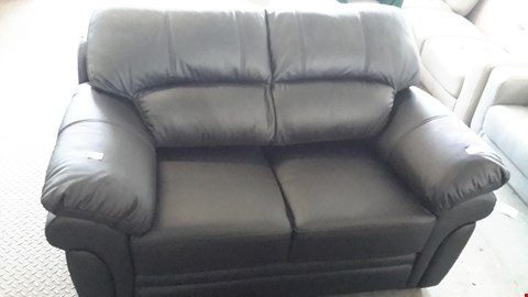 Lot 12 DESIGNER BLACK LEATHER EFFECT 2 SEATER SOFA