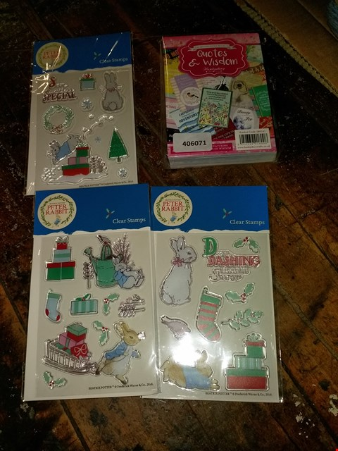 Lot 642 2 BOXES OF 9 CRAFT ITEMS TO INCLUDE PETER RABBIT CHRISTMAS STAMP ASSORTMENT AND THE SECOND LITTLE BOOK OF WISDOM