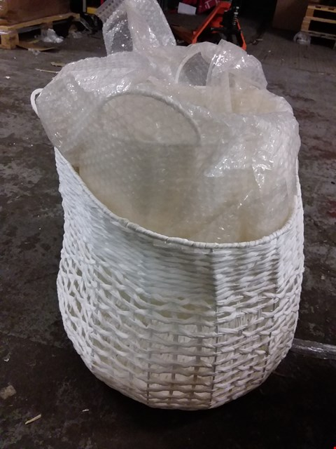 Lot 28 BOXED SET OF 2 CROCHET BASKETS - WHITE