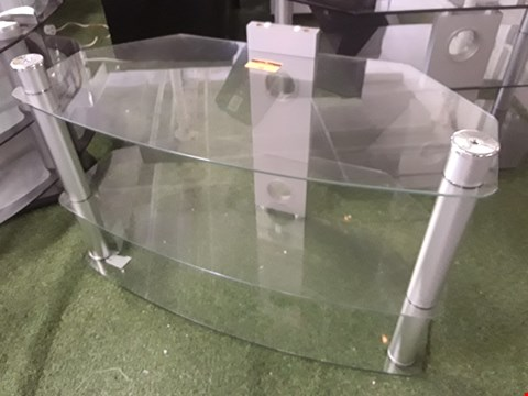 Lot 51 DESIGNER 3 TIER CLEAR GLASS TV STAND