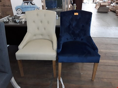 Lot 328 LOT OF 2 DESIGNER CHAIRS TO INCLUDE A BLUE VELVET EFFECT BUTTON BACK CHAIR AND A CREAM CANVAS BUTTON BACK CHAIR