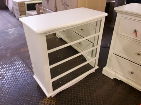 Lot 2073 DESIGNER WHITE FINISH MIRRORED FRONT 4 DRAWER CHEST