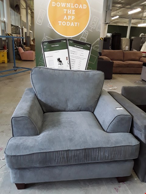 Lot 8 DESIGNER GREY FABRIC ARMCHAIR WITH WOODEN LEGS