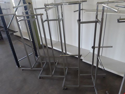 Lot 2105 THREE 4 STATION HEIGHT ADJUSTABLE GARMENT DISPLAY UNITS