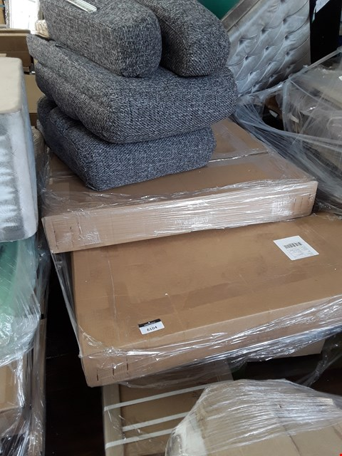 Lot 370 PALLET OF ASSORTED FLAT PACK FURNITURE PARTS TO INCLUDE GREY FABRIC SOFA PARTS, ABBEY SILVER LEANER MIRROR ETC