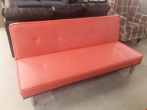 Lot 56 DESIGNER RED FAUX LEATHER CLICK CLACK SOFABED