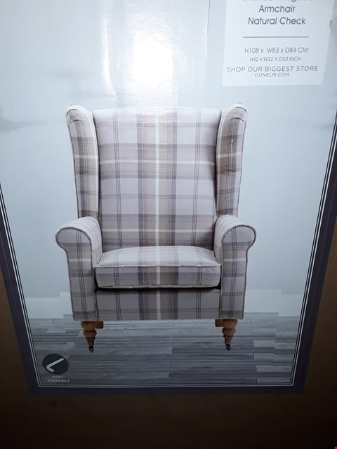 Lot 5024 BOXED DESIGNER GRANDE WINGBACK ARMCHAIR - NATURAL CHECK