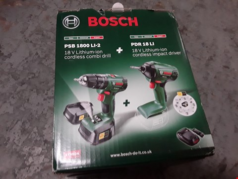 Lot 187 BOSCH 18V 2 DRILL SET INCLUDES PSB1800LI-2 AND PDR18LI RRP £100