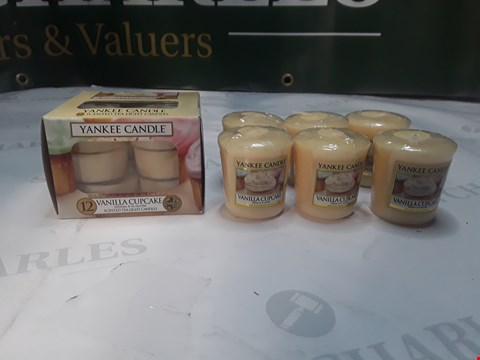 Lot 1251 LOT OF 18 YANKEE CANDLES VANILLA CUPCAKE SCENTED