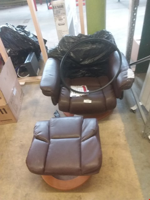 Lot 1135 MILANO SWIVEL RECLINER CHAIR  AND FOOTSTOOL