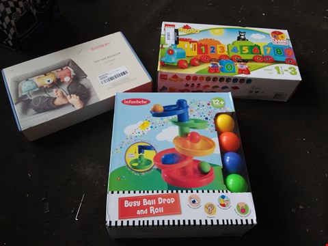 Lot 10618 LOT OF 3 ASSORTED BABY TOYS TO INCLUDE BABYBJORN BOUNCER TOY, DUPLO TRAIN SET, BUSY BALL DROP AND ROLL