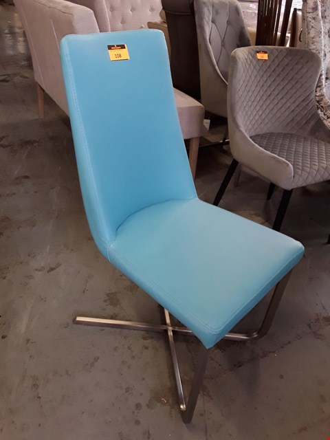Lot 108 DESIGNER TURQUOISE FAUX LEATHER DINING CHAIR ON BRUSHED METAL SUPPORT
