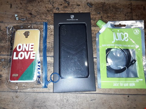 Lot 8124 BOX OF ASSORTED PHONE ACCESSORIES TO INCLUDE ONE LOVE PHONE CASE, JUICE APPLE LIGHTNING CABLE, PORSCHE IPHONE CASE