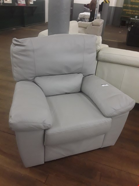 Lot 621 QUALITY ITALIAN GREY LEATHER UPHOLSTERED ALVERA POWER RECLINING ARMCHAIR