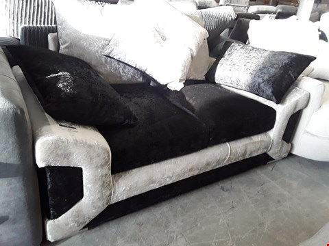 Lot 20 DESIGNER TWO TONE BLACK/SILVER CRUSHED VELVET TWO SEATER SOFA WITH SCATTER CUSHIONS