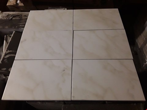 Lot 3065 PALLET OF 63 PACKS OF BRAND NEW MATTE WHITE BEIGE TILES (Approx 63 Sq. Metres)