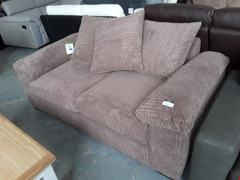 Lot 116 DESIGNER BROWN JUMBO CORD 2 SEATER SOFA WITH SCATTER BACK CUSHIONS