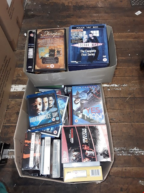 Lot 4352 LARGE QUANTITY OF DVDS TO INCLUDE DR WHO, YES MAN, INDEPENDENCE DAY ( 2 BOXES)