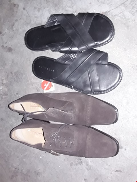 Lot 349 BOX OF APPROXIMATELY 11 ASSORTED SHOES TO INCLUDE BROWN ITALIAN CLASSICS AND BLACK FLIP FLOPS