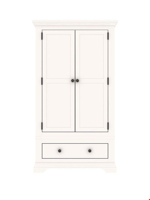 Lot 7105 BRAND NEW BOXED NORMANDY WHITE 2-DOOR 1-DRAWER WARDROBE (2 BOXES) RRP £499.00