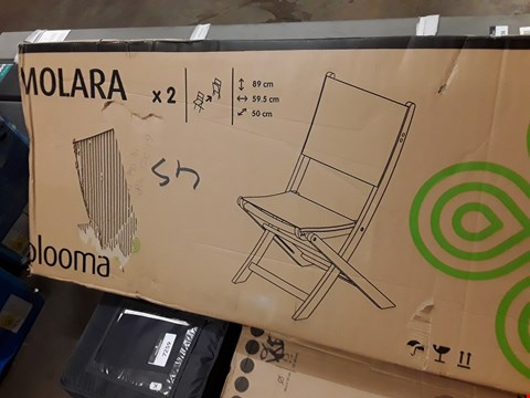 Lot 7257 BOXED PAIR OF BLOOMA MOLARA FOLDING PATIO DINING CHAIRS