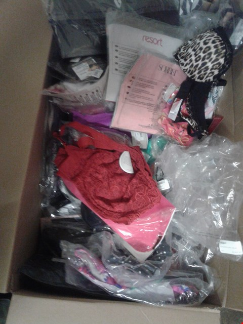 Lot 849 A BOX OF APPROXIMATELY 25 ASSORTED CLOTHING ITEMS TO INCLUDE A BLACK 34B BRA, A RED 34D BRA AND A WHITE 34D BRA